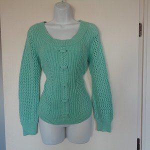 Maurices Green Open Knit Sweater Small